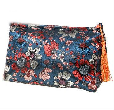 Blue Floral Meadow Cosmetic Bag
