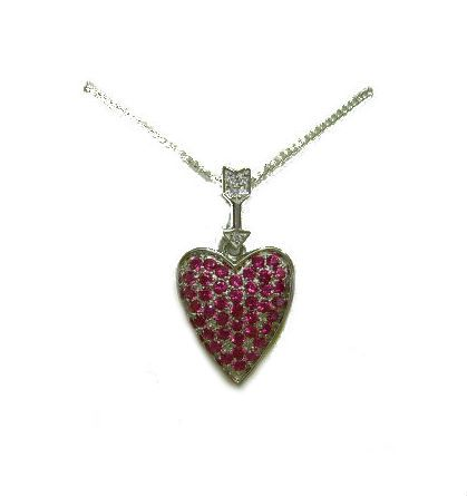 Created Corundum Ruby, Heart Pendant, 18 inch chain