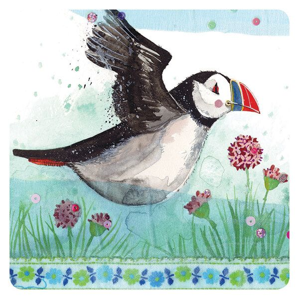 Flying Puffin Corked Backed Coaster