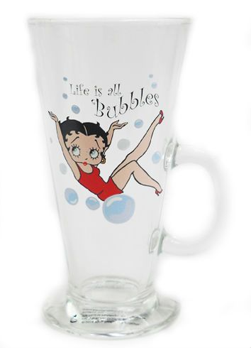 Latte Glass, Betty Boop Life is all Bubbles