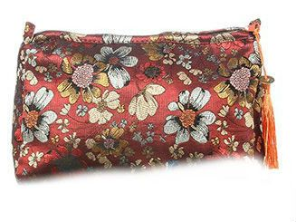 Red Floral Meadow Cosmetic Bag