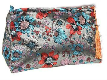 Silver Floral Meadow Cosmetic Bag